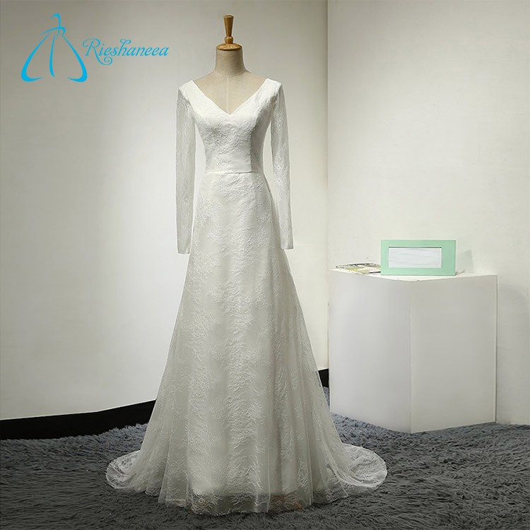 Long Sleeve Sweep Train Zipper Wedding Dresses for Sale