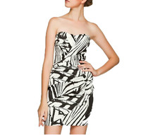 Fashion Zebra Print Pleated Bandeau Night Party Dress 2014 Beautiful Strapless Patterns Evening Dress