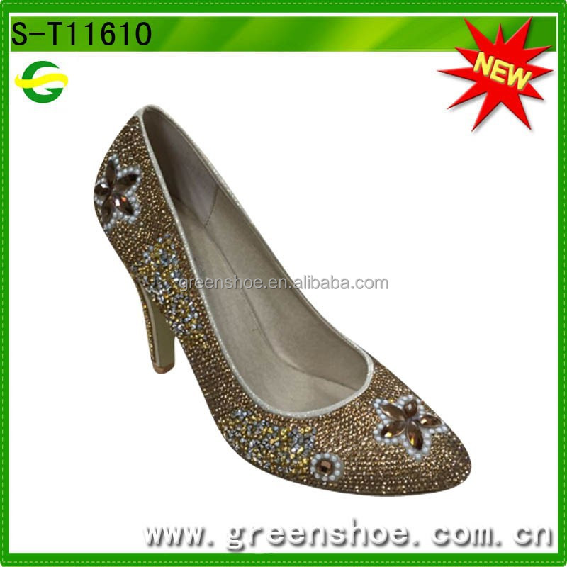 Gold crystal and pearls high heel shoes
