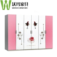 2015new design dressing room cabinet furniture mulit door painted cabinet with flowers