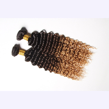 Brand new ombre color blonde kinky curly hair weave virgin mongolian