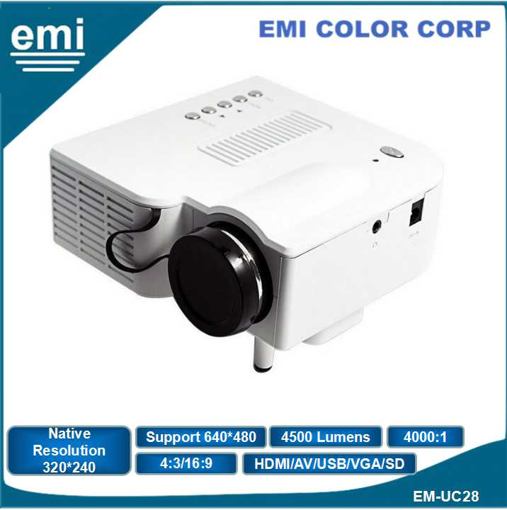 Multimedia Video Mini LED Projector, Support Overhead Projection, Short Throw Ratio