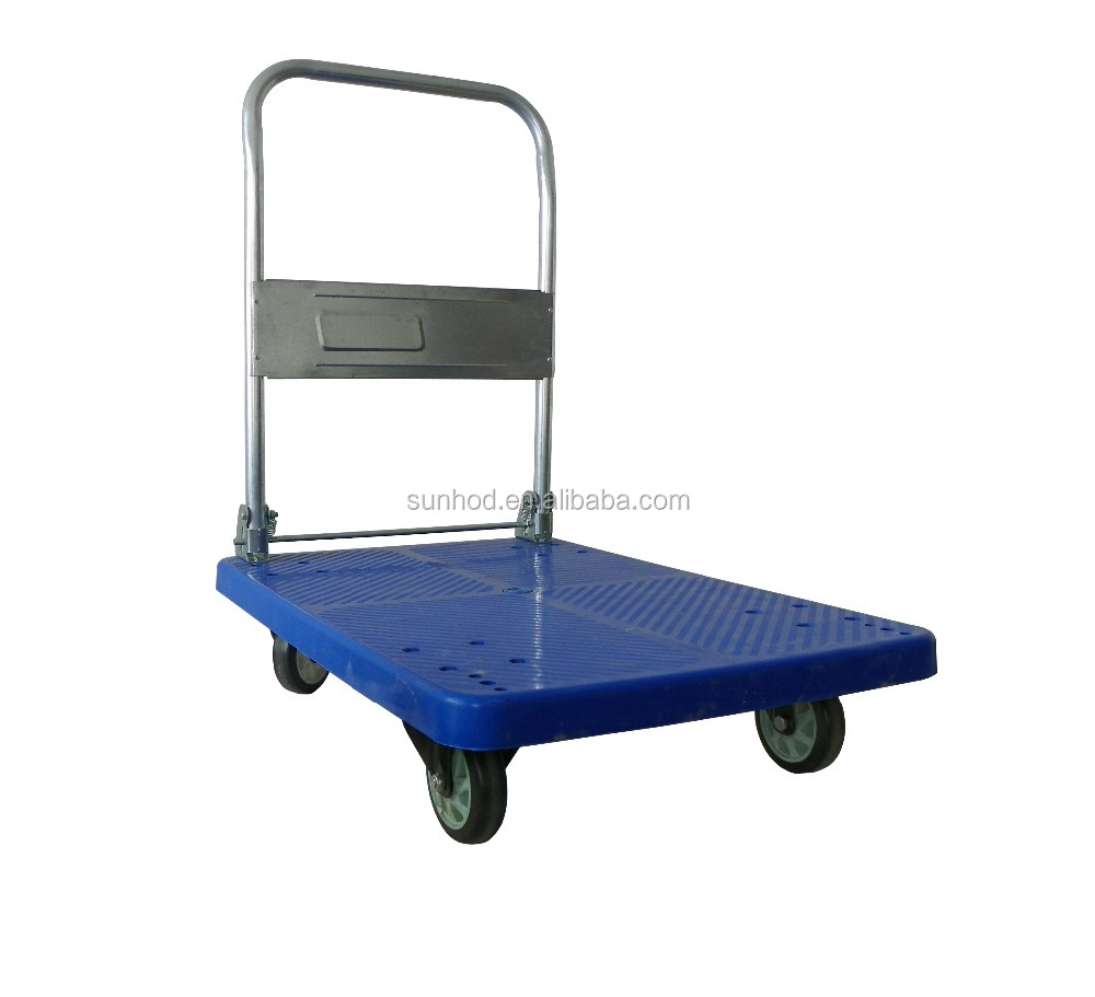 300KG Folding Platform Hand Pallet Truck with Four Wheel Trolley