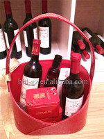 Handcrafted PU leather wine basket wedding gift flower basket heart shape decoration leather wine carrier wine bag L32