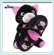 Funny plush black kitty anime slippers with a cat toy