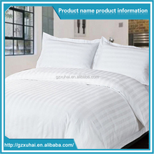 China wholesale 100% Egyptian Cotton White Stripe Hotel Bed Sheets / Hotel Bedding Set