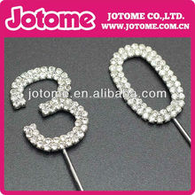 Rhinestone Crystal Diamante Number Cake Topper FOR Wedding Birthday Anniversary Party Supply