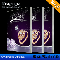 Edgelight AF42 backlit fabric , fiber optic light box , single sided illuminated acrylic aluminum frame lighting box