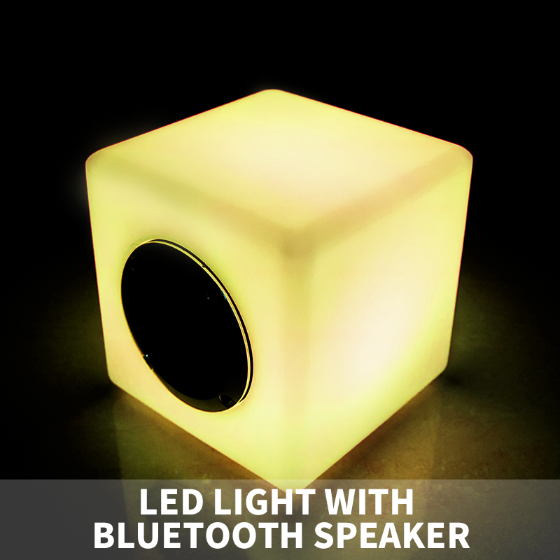 Mini bass bluetooth speaker cube with LED light/ wireless LED cube bluetooth speaker