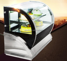 Curved glass door countertop mini cake display showcase refrigerator for bakery