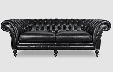 High Back Button Tufted Chesterfield Upholstered Brown Leather Couches For Sale