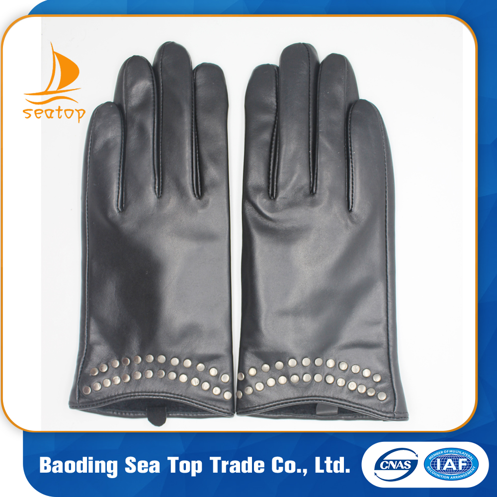 ladies fashion dress wearing leather hand gloves