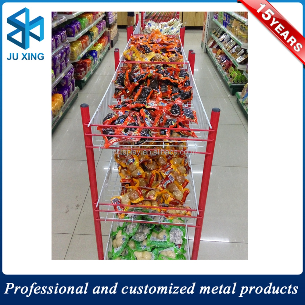 Double Sided Tiered Metal Food Display Stand with 8 Wire Baskets, food metal wire display
