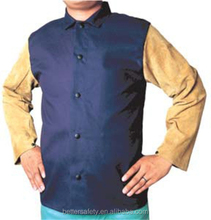 Leather Sleeves Blue FR Cotton Fire Retardant Clothing, welding jacket