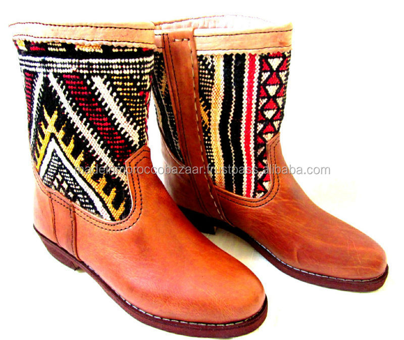 Beautiful Handcrafted Pure Leather Kilim Boots For Ladies