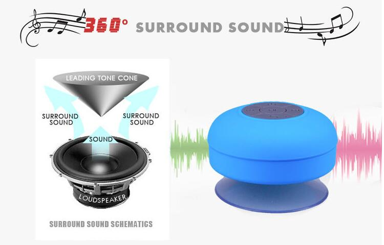 Wireless audio player waterproof shower bluetooth mini round speaker with sucker