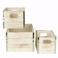Set of 3 Stackable Vintage Look Wooden Storage Crates/Kitchen/Garden Boxes