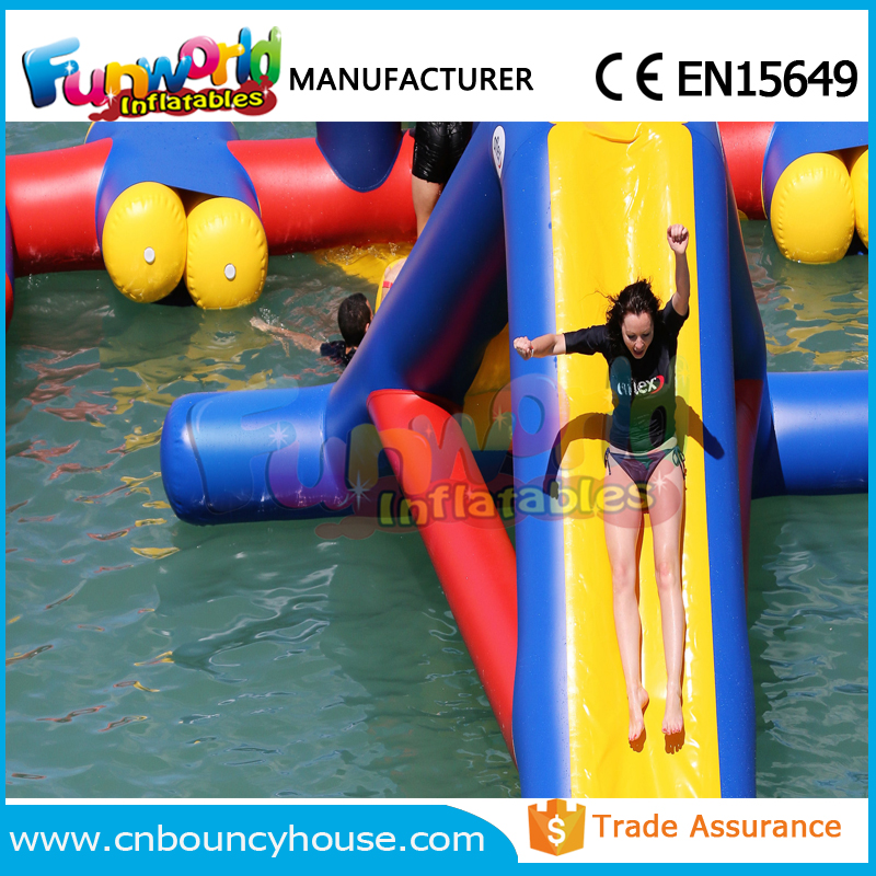 CE pool slide game giant inflatable floating water slide