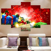 Custom artworks modern beautiful 5 piece Christmas canvas pictures fabric painting designs patterns factory direct sale