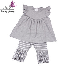 Summer kids clothing boutique children clothes 2018 flutter dark gray top and striped shorts