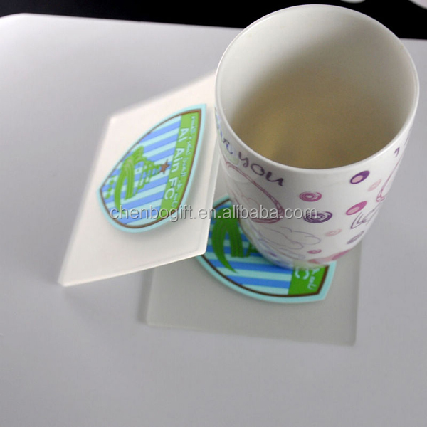 OEM custom clear transparent plastic rubber soft pvc cup coaster
