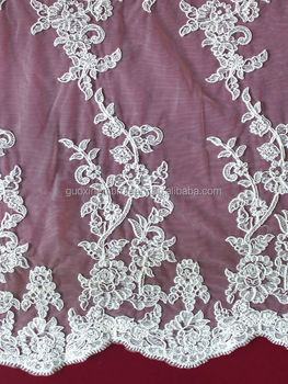 Ivory cotton lace embroidery lace fabric /embroidery lace manufacturer guangzhou