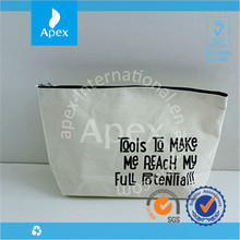 Nature color blank canvas zipper cosmetic bag