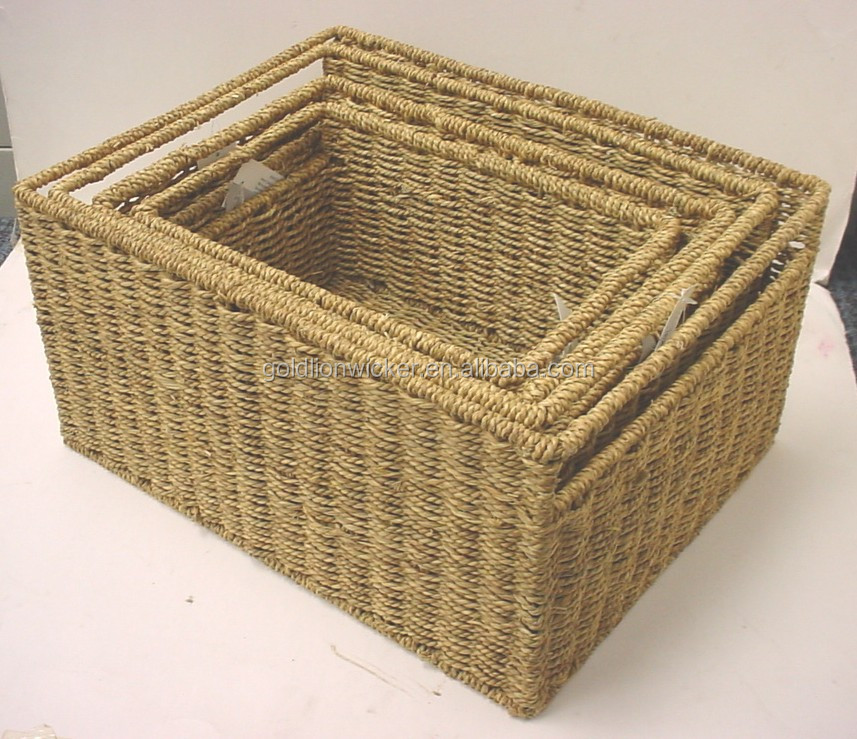 chinese folk art durable seagrass baskets in dark brown color