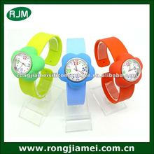 Rose shape silicone snap strap watch for promotion gift 2012