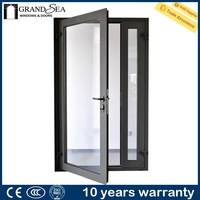 Cheap price thermal break double glass frosted glass pantry door with CCC certification