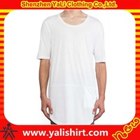 wholesae 100% soft feeling white color cheapest slim fit men's extra long t-shirt