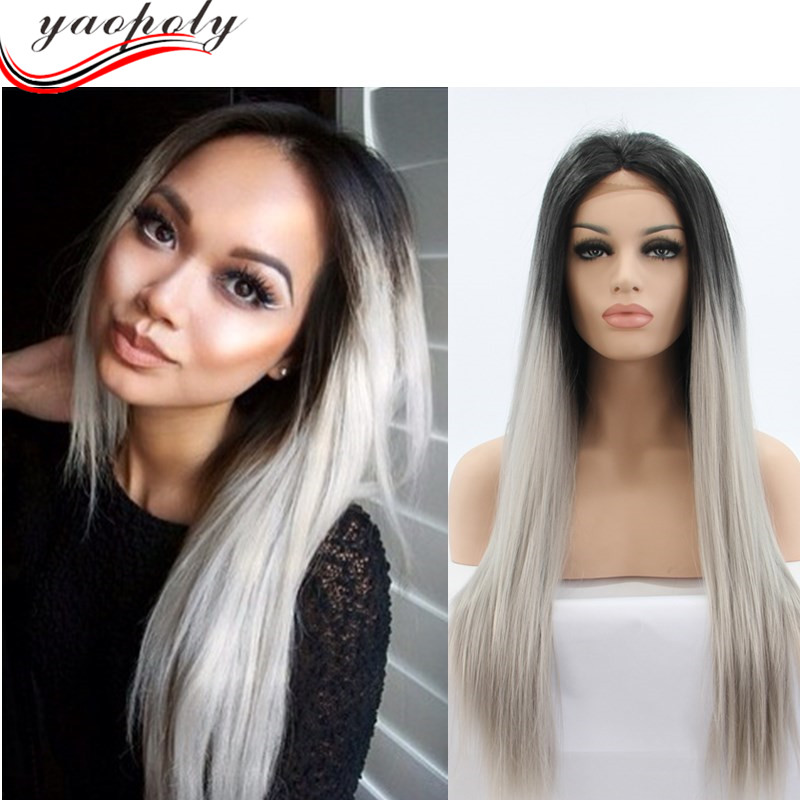 wholesale aliexpress ombre color 1b / grey sythetic wigs lace front wigs