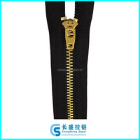 4# shiny gold Y teeth metal zipper YG slider for jeans