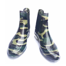 Best selling camouflage plastic fashion pvc women low cut rain boots wateproof plate lady gum boots 2017 new design