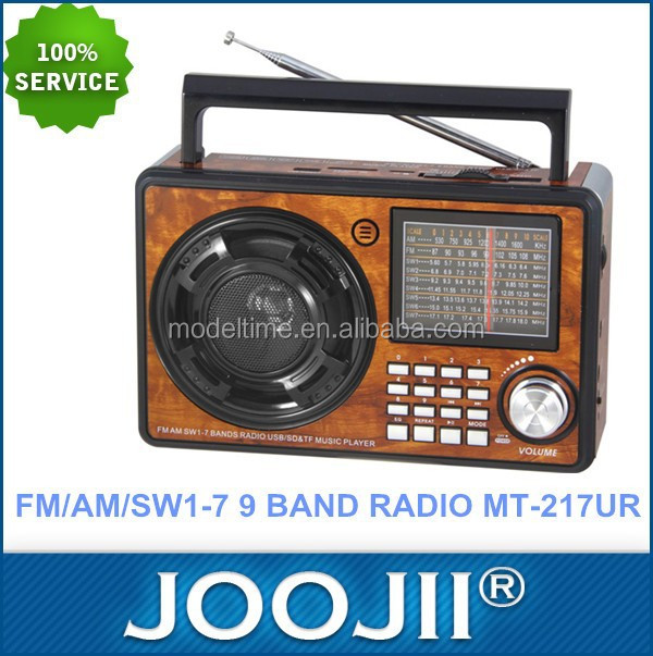 AM FM SW Portable wooden Radio with Aux in jack