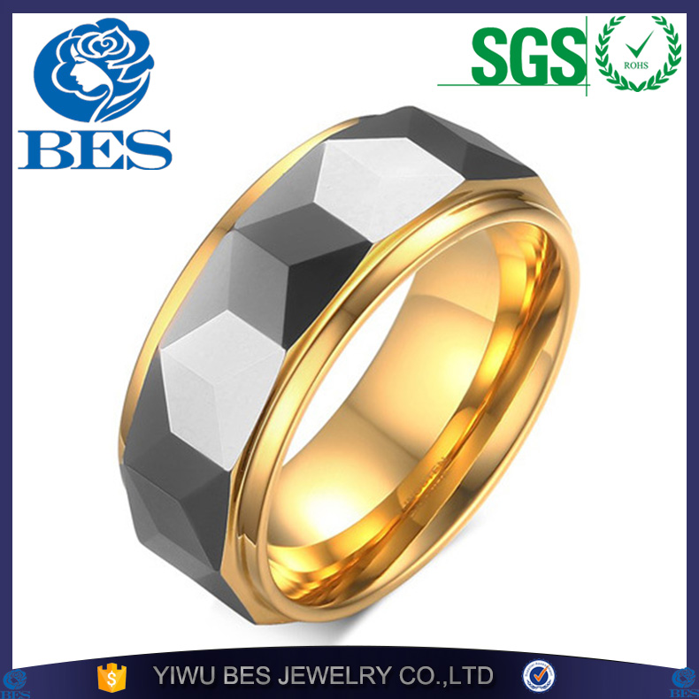 8mm Rhombus Cut Men's Tungsten Ring Gold Plated Wedding Band Multi-faceted Dome Tungsten Carbide Men Jewelry