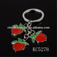 Popular fruit metal keyring red enamel peach keychain