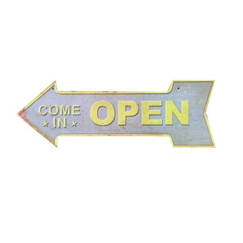 Come in OPEN here outdoor pub poster metal arrow sign