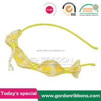 100% polyester cheap wholesale yellow ribbon bow hairbands,ribbon bow headbands