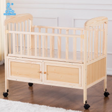 Wooden Multifunction Wooden Playpen Baby Swing Bed With Drawers