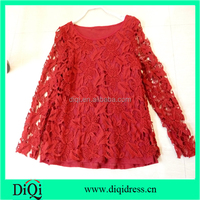 Fashion women crochet lace lady blouse design 2016 cotton women apparel clothing