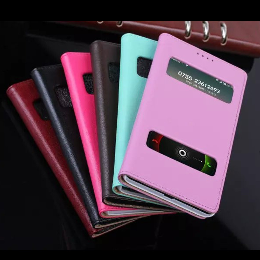 hot genuine leather case for xiaomi hongmi note open window flip mobile phone case for redmi note cover