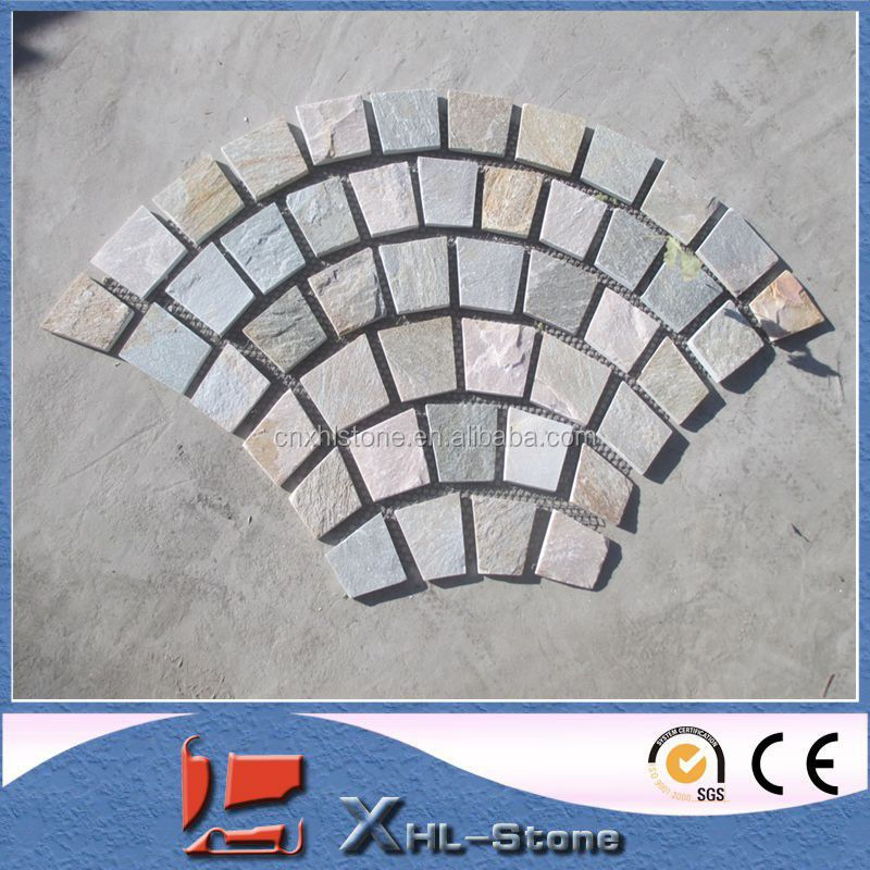 China Cheap Nature Yellow Rusty Slate rained board for garden paving stone/NET PASTE