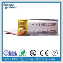 3.7v li-ion polymer battery 100mah for bluetooth headset
