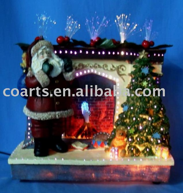 "12"" polyresin fiber optic fireplace & Santa"
