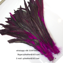 30-35cm Dyed red Rooster Tail Feathers Half Bronze Cock