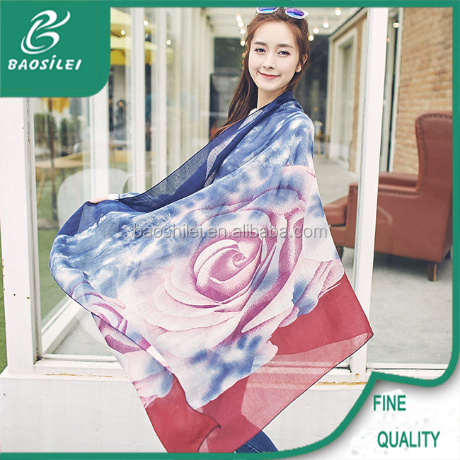 Famous designer spring summer embroidery female scarf