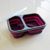 Collapsible Design Two Compartment Silicone Lunch Box Bento Container With spoon and fork for Office School