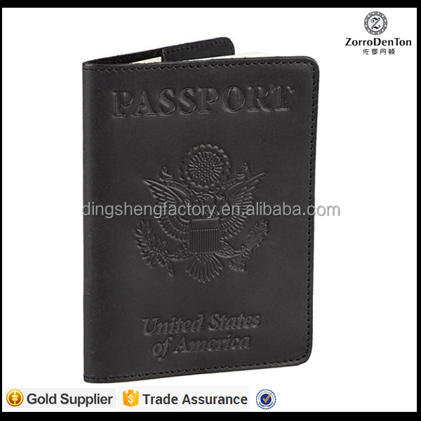 RFID security nubuck leather passport sleeve for men/women travel passport wallets