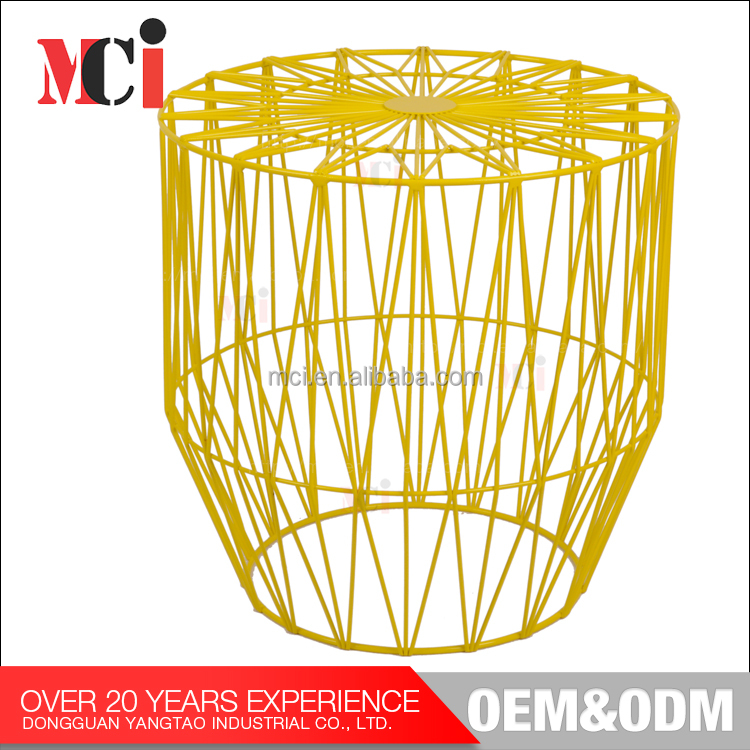 Custom metal retro colorful yellow mesh round wire table